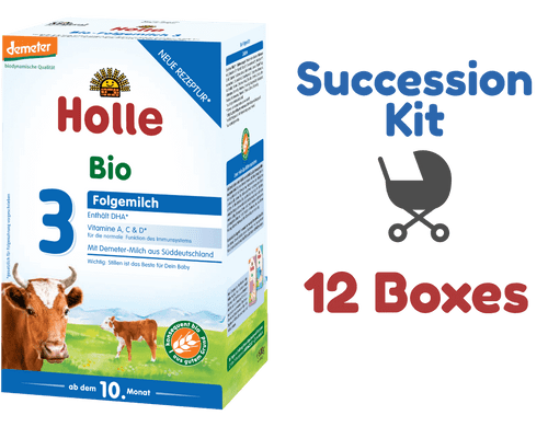 12 Boxes of Holle Stage 3 Organic (Bio) Baby Milk Formula (600g) - Succession Kit