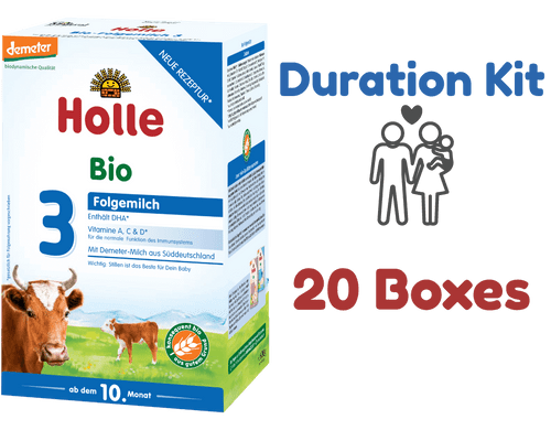 20 Boxes of Holle Stage 3 Organic (Bio) Baby Milk Formula (600g) - Duration Kit