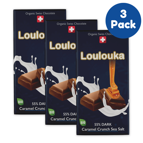 Loulouka Organic Swiss Chocolate: 3 Pack of 55% Dark Chocolate with Caramel Crunch Sea Salt (100g)