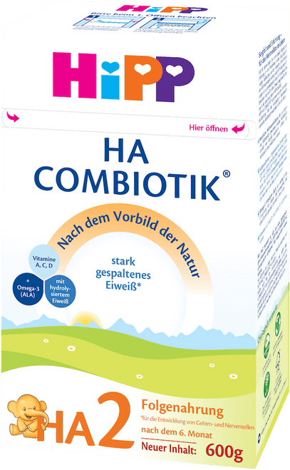 HiPP Hypoallergenic (HA) Stage 2 Combiotic Follow-on Infant Milk Formula (600g) - German Version