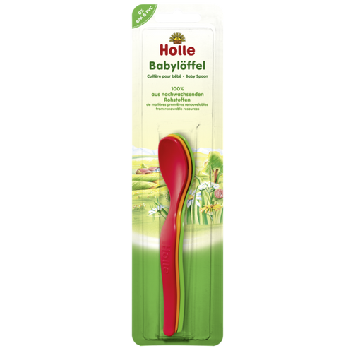 Holle baby spoons. Red, yellow and green. 3 Pack
