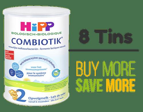 8 Pack of HiPP Stage 2 Organic (Bio) Combiotic Follow-on Milk Formula (800g) - Dutch Version