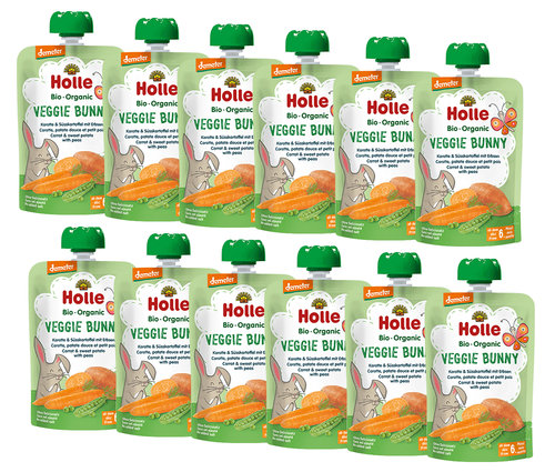 12 Holle Carrot, Sweet Potato & Peas Pouches