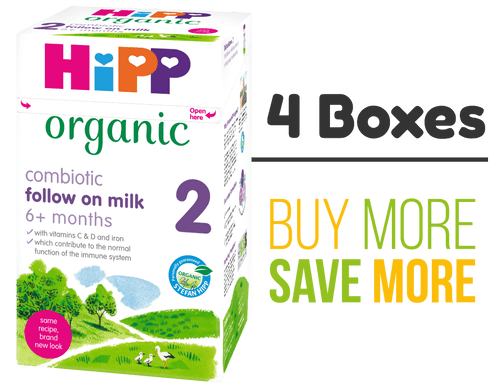 4 Pack of HiPP Stage 2 Combiotic Follow-on Infant Milk Formula (800g) - UK Version