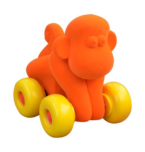 Orange monkey on yellow wheels