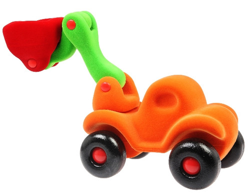 Orange bulldozer with movable claw