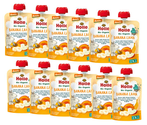 12 Holle Banana, Apple, Mango & Apricot Pouches