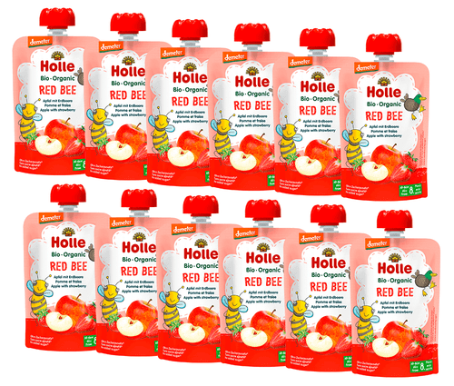 12 Holle Apple & Strawberry Pouches