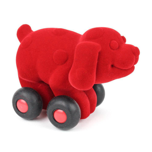 Red dog on wheels