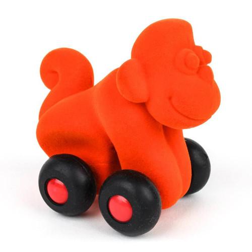 Orange monkey on wheels