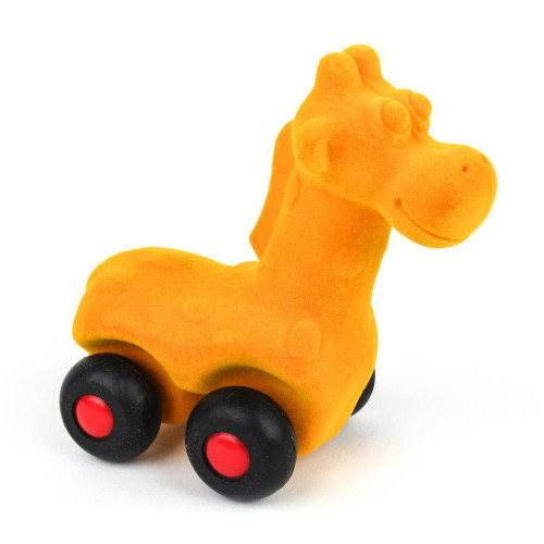 Yellow giraffe on wheels
