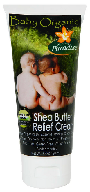 Nature's Paradise organic baby shea butter relief cream.