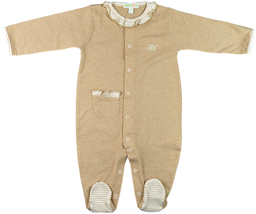 Brown footed bodysuit with ruffle collar & pocket
