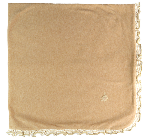 Brown blanket with striped ruffles