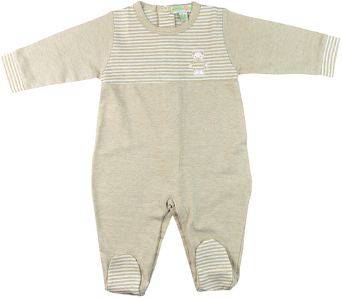 Tan, striped footed bodysuit