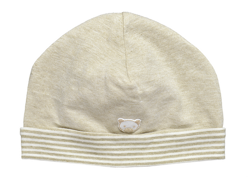 Tan baby hat with striped brim