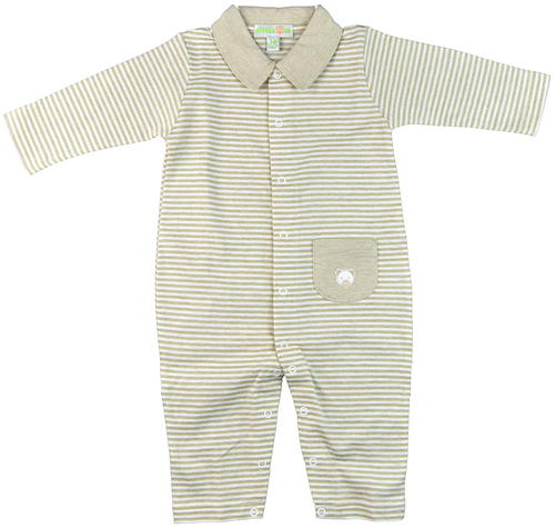 Tan striped bodysuit, front buttons