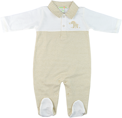 91ea04efc7 Little Zi  Zebra Organic Striped   Natural White Front-Buttoned  Long-Sleeved Footed