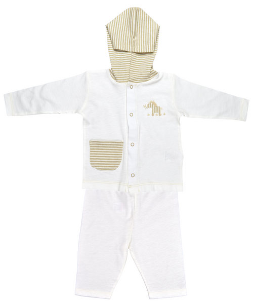 White Front-Buttoned Shirt with Striped Hood and Pants