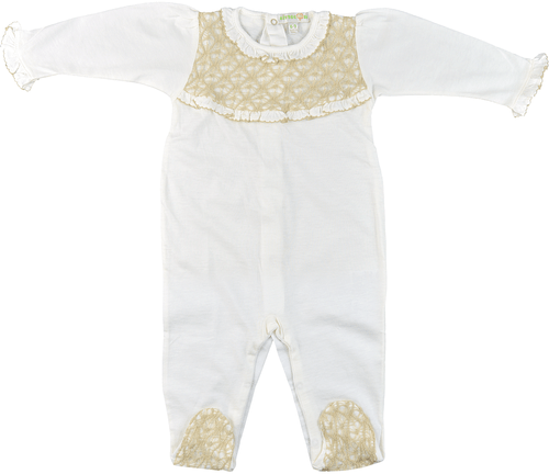 Knit Organic Tan Lace & Natural White Back-Buttoned Long-Sleeved Footed Baby Pajamas with Ruffles