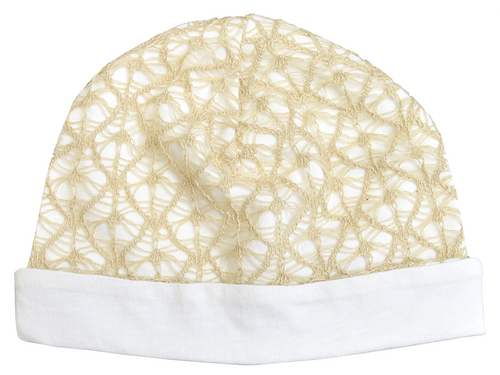 Tan lace baby hat with white brim