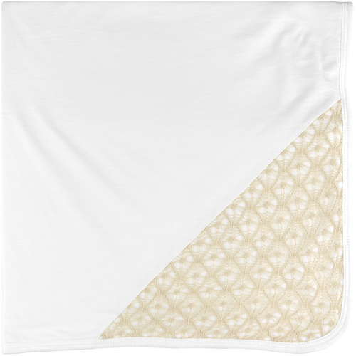 Tan Lace, White Baby Blanket