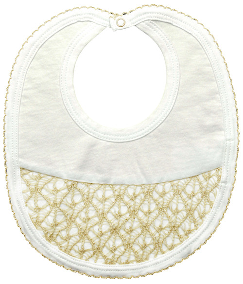 Tan Lace, White Baby Bib