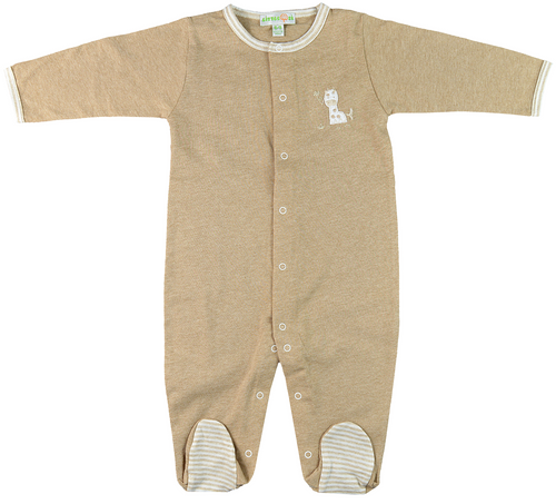 Giraffe Organic Brown Front-Buttoned Long-Sleeved Footed Baby Pajamas