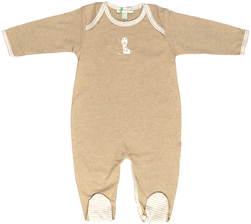 Brown footed bodysuit, long sleeves