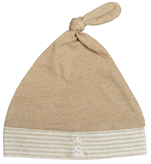 Brown giraffe hat with striped edge