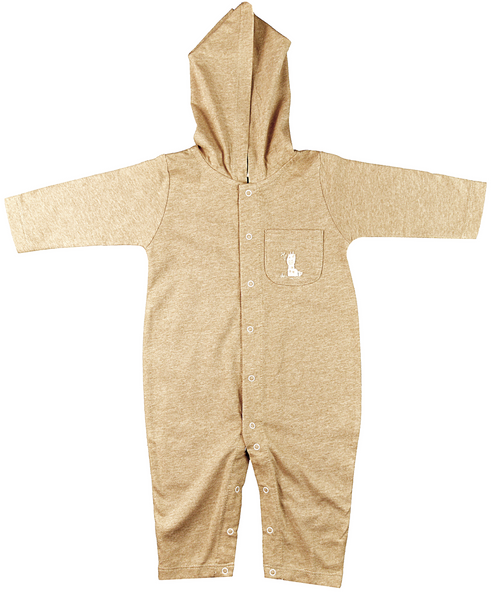 Brown long sleeve baby bodysuit with hood