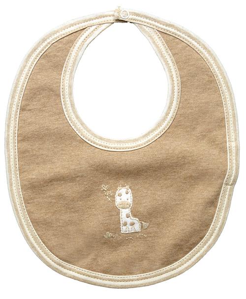 Brown bib with small stitched giraffe design