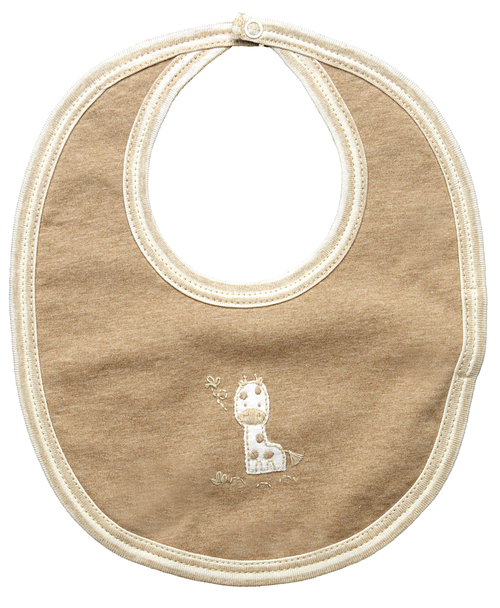 Brown bib with small stitched giraffe design