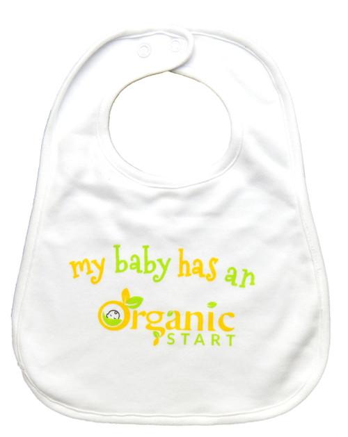 """My Baby Has An Organic Start"" bib"