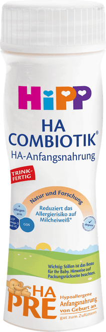 6 Pack of Premixed HiPP HA Stage PRE Combiotic Infant Milk Formula (200ml) - German Version