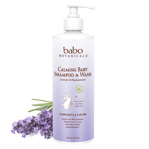 Bottle of Babo Botanicals baby shampoo and wash, Lavender.
