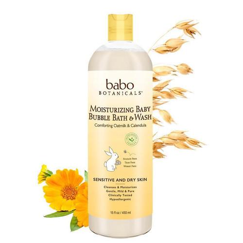 Bottle of Babo Botanicals moisturizing bubble bath and wash.