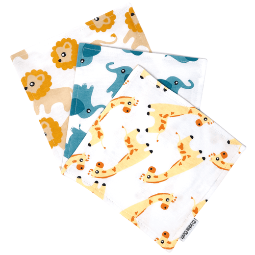 3 pack crinkle cloth with safari animal patterns