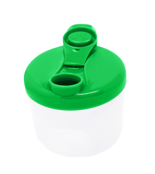 Green travel container, with spout open