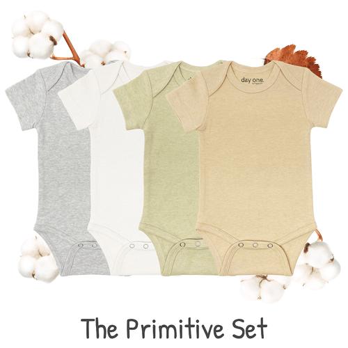 4 Pack Short-sleeved bodysuits. 1 color each