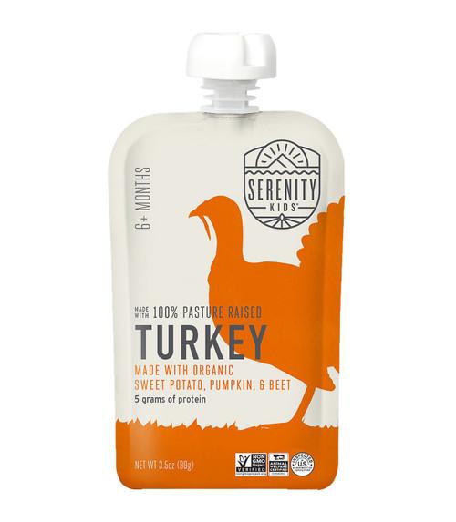 Organic Turkey with pumpkin and beets puree