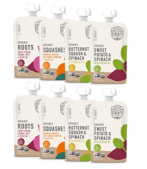 8 Pack, Veggie variety. Save more!