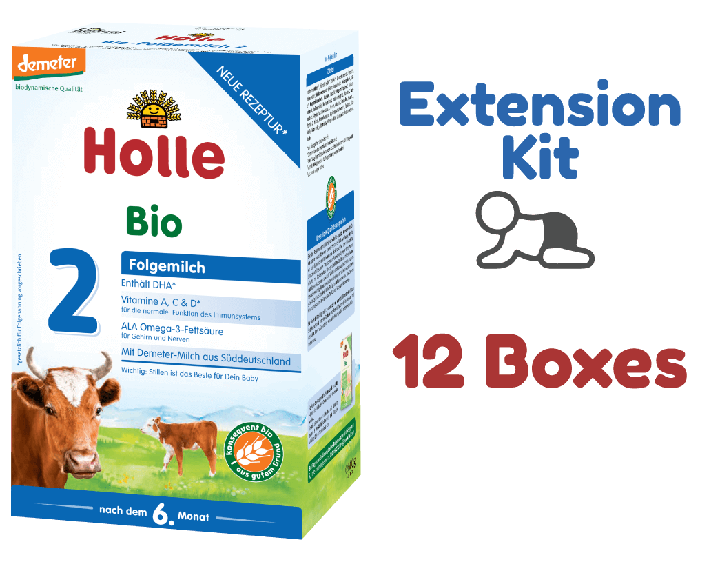12 Boxes of Holle Stage 2 Organic (Bio) Follow-on Infant Milk Formula (600g) - Extension Kit