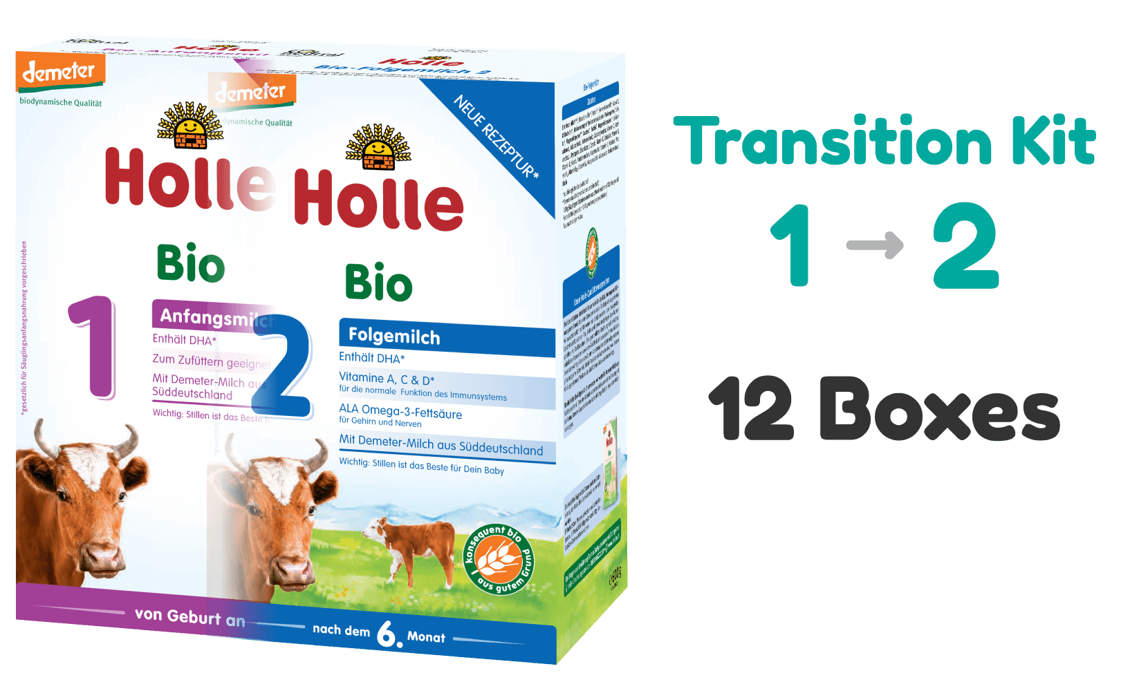 Transition Kit: Holle Cow stage 1 and stage 2