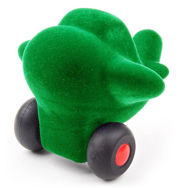 Green airplane on wheels