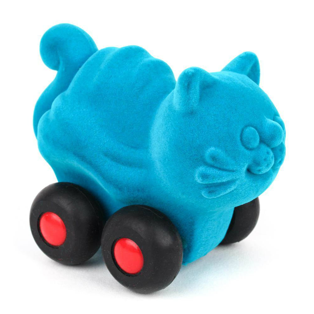 Turquoise Cat on wheels
