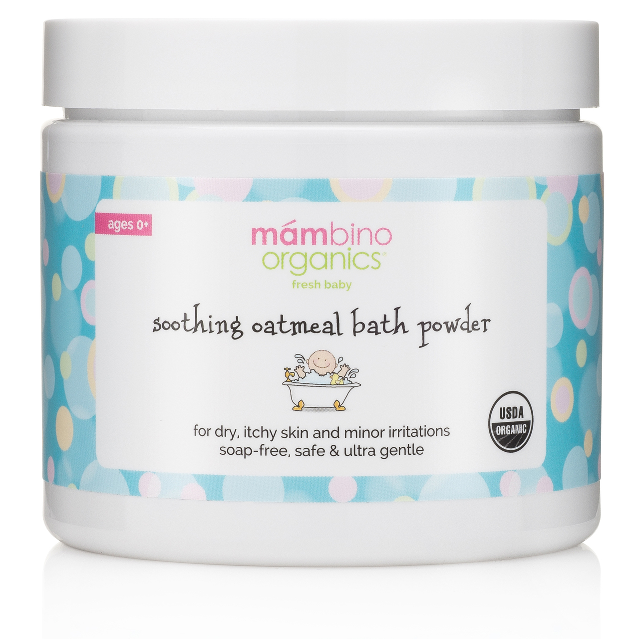 Jar of Mambino Organics oatmeal bath powder.