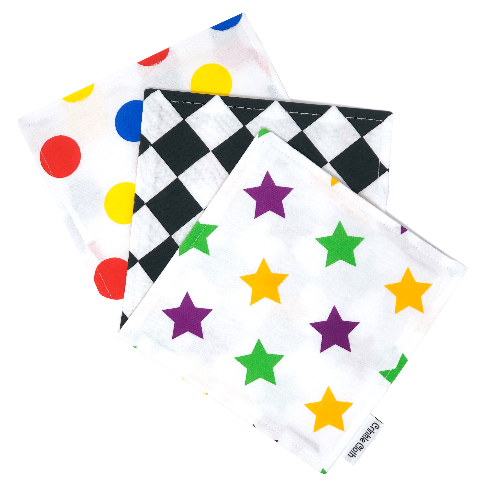3 pack crinkle cloth with sensory patterns