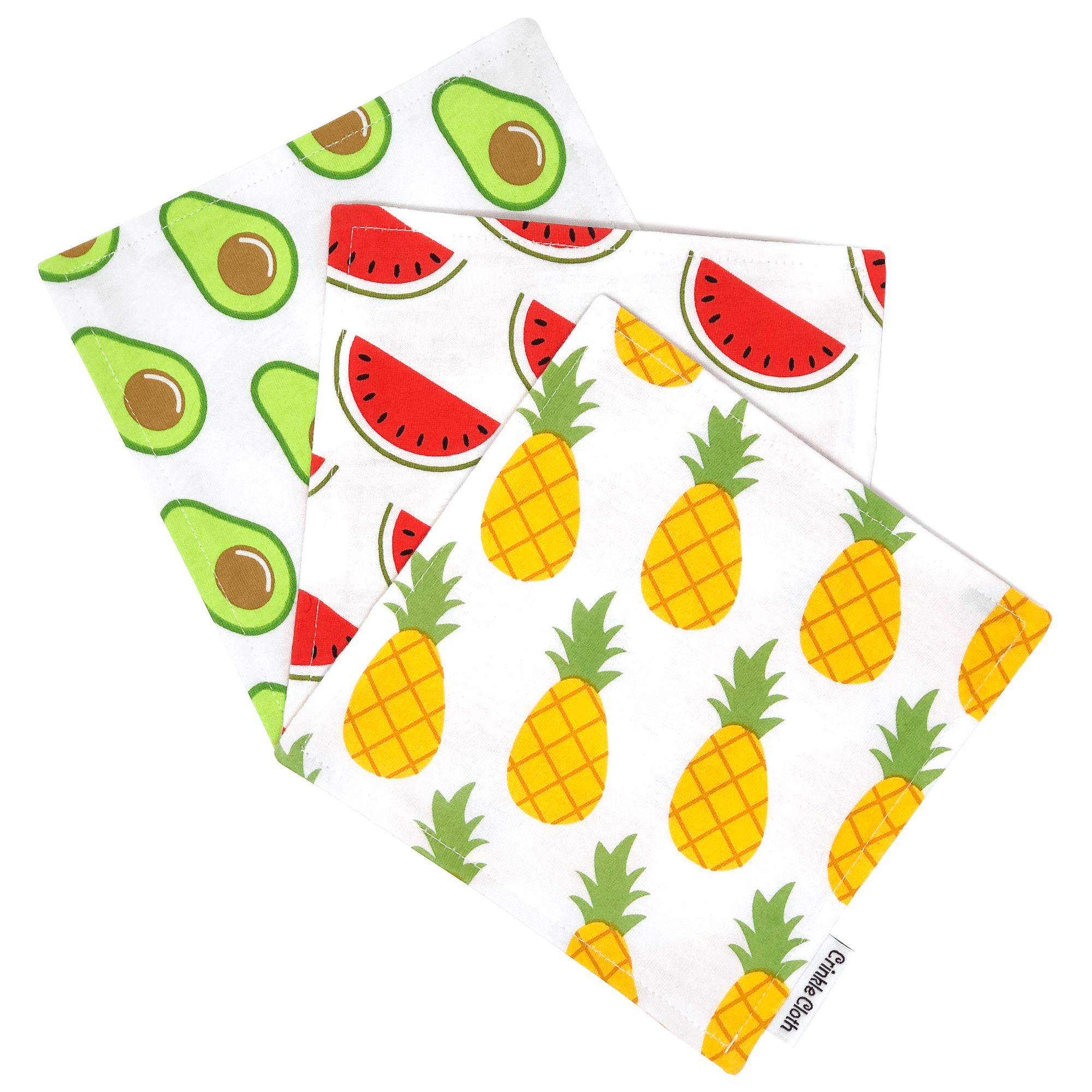 3 pack crinkle cloth with tropical fruits patterns