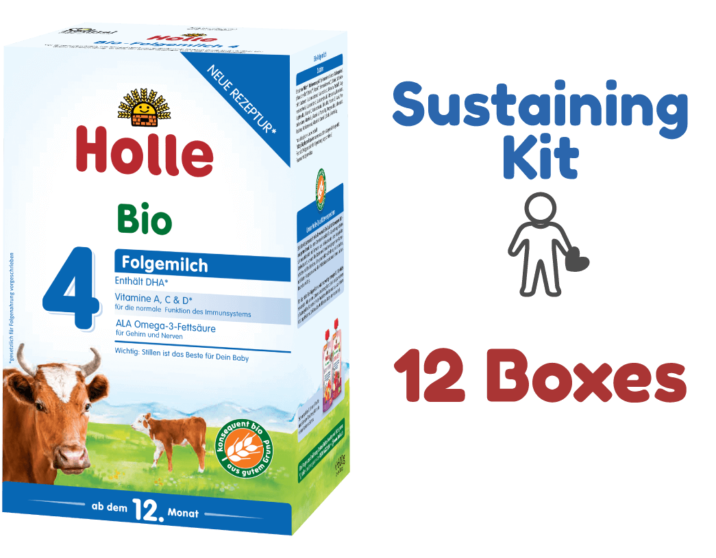 12 Boxes of  Holle Stage 4 Organic (Bio) Toddler Milk Formula (600g) - Sustaining Kit